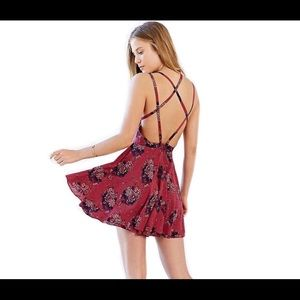 Red backless floral dress